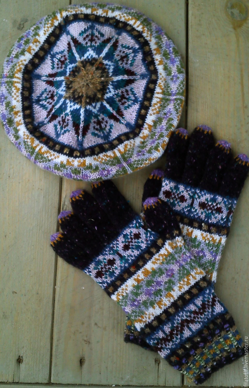 твидовый вязаный комплект из берета и перчаток – купить в ...
