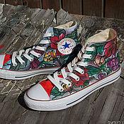 """Обувь ручной работы. Ярмарка Мастеров - ручная работа """"В саду"""" 37 размер, кеды Конверс Converse с росписью.. Handmade."""