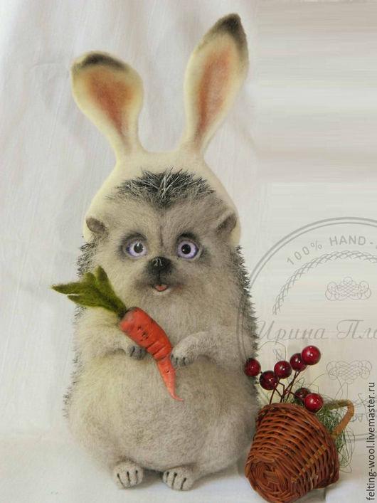 """Игрушки животные, ручной работы. Ярмарка Мастеров - ручная работа. Купить Ёжик """"Зайка"""". Handmade. Серый, Сухое валяние, заяц"""
