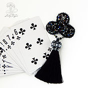 Украшения handmade. Livemaster - original item Brooch black beaded Clubs. Handmade.