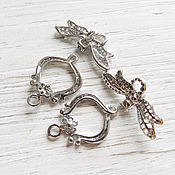 Материалы для творчества handmade. Livemaster - original item Lock toggle Dragonfly color platinum, material brass (art. 2204). Handmade.