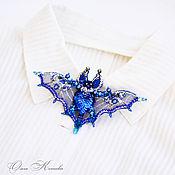 Украшения handmade. Livemaster - original item Brooch embroidered Blue bat. Handmade.