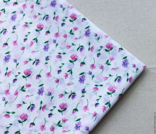 Шитье ручной работы. Ярмарка Мастеров - ручная работа. Купить Ткань для рукоделия с цветочками. Handmade. Голубой, ткань для кукол