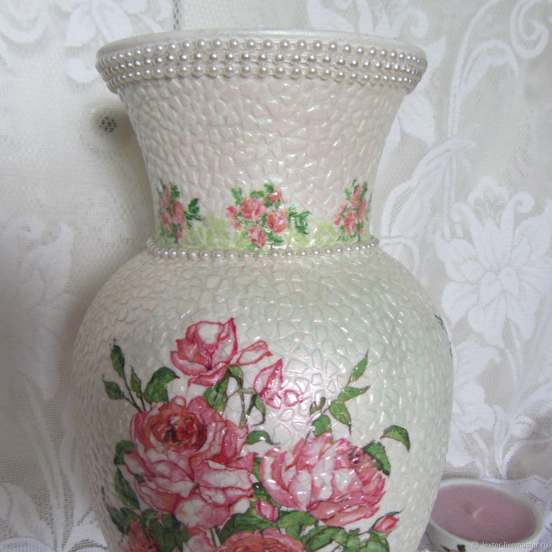 Вазы ручной работы. Стеклянная ваза Розовый букет