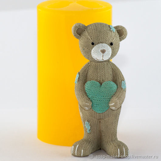 Silicone mold for soap 'Knitted Teddy bear with heart 3D', Form, Shahty,  Фото №1