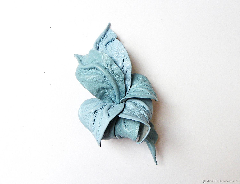 Брошь цветок из кожи Свежий Ветер голубой небесный, Брошь-булавка, Москва,  Фото №1