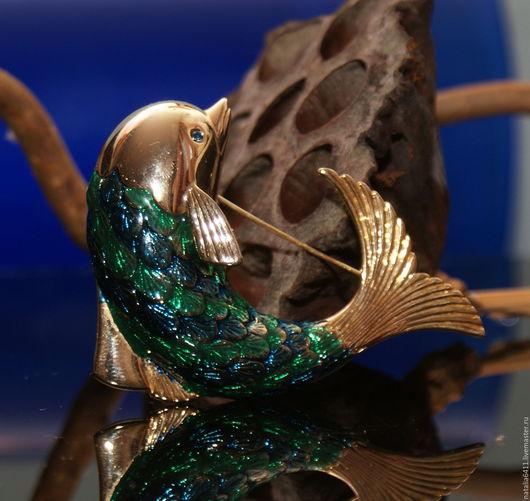 """Винтажные украшения. Ярмарка Мастеров - ручная работа. Купить Очень крупная брошь """"Дельфин """"(217). Handmade. Тёмно-зелёный"""