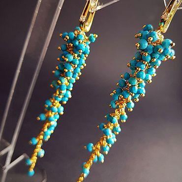 Украшения ручной работы. Ярмарка Мастеров - ручная работа Серьги-грозди Бирюза. Handmade.