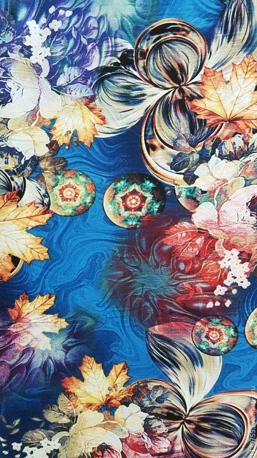 Шитье ручной работы. Ярмарка Мастеров - ручная работа. Купить Ткань штапель цветы на голубом  0.11. Handmade. Комбинированный