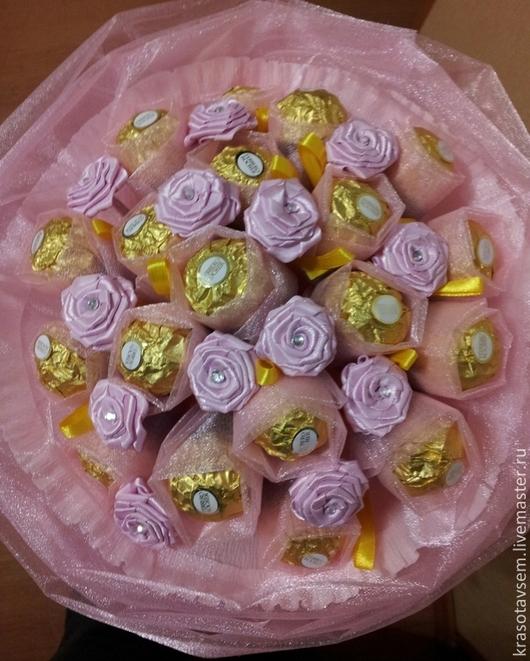 """Кулинарные сувениры ручной работы. Ярмарка Мастеров - ручная работа. Купить букет """"Воздушный"""". Handmade. Розовый, прекрасный подарок, золотой"""