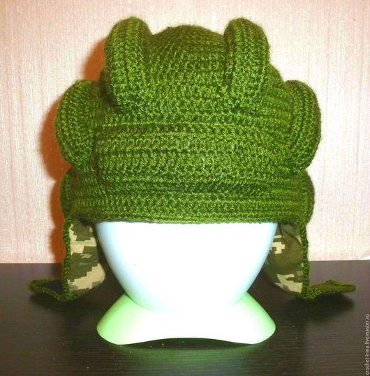 """Шапки и шарфы ручной работы. Ярмарка Мастеров - ручная работа. Купить Шапочка """" Танкистский шлем"""". Handmade. Тёмно-зелёный"""