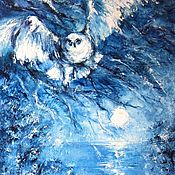 Pictures handmade. Livemaster - original item Snowy Owl hunting original fantasy oil painting on canvas Abstract art. Handmade.