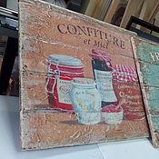 Картины и панно ручной работы. Ярмарка Мастеров - ручная работа Панно деревянное состаренное 30х35 см_Кухня Прованс_3 W0078. Handmade.