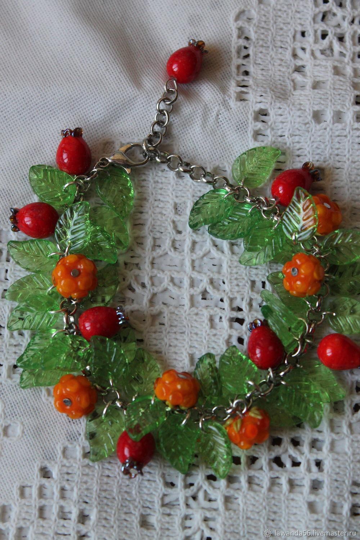 Lampwork bracelet with cloudberry and rosehip berries, Bead bracelet, Krasnoyarsk,  Фото №1