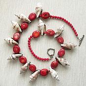 "Украшения handmade. Livemaster - original item Бусы ""Красное море"" из коралла и ракушек. Handmade."