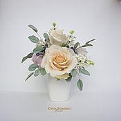 """Цветы и флористика ручной работы. Ярмарка Мастеров - ручная работа Букет """"нежность"""" с розами и белой сиренью. Handmade."""