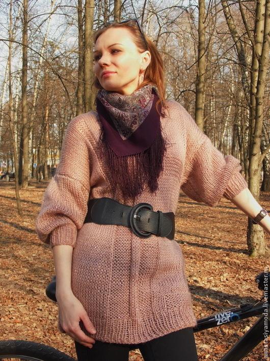 Кофты и свитера ручной работы. Ярмарка Мастеров - ручная работа. Купить Вязаная туника. Handmade. Бледно-розовый, розовый