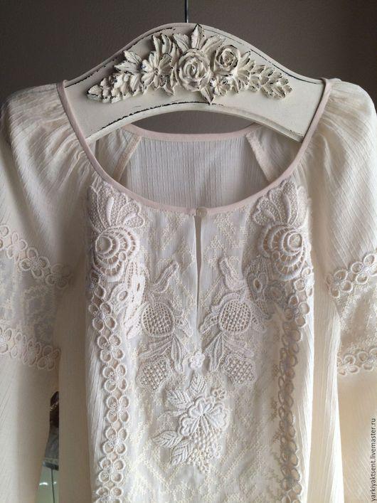 Блузки ручной работы. Ярмарка Мастеров - ручная работа. Купить Блуза фольклорная. Handmade. Бежевый, блузка из шелка, Шёлк 100%