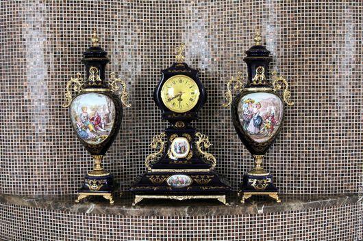 Винтажные предметы интерьера. Ярмарка Мастеров - ручная работа. Купить антикварный набор с часами. Handmade. Тёмно-синий, механизм