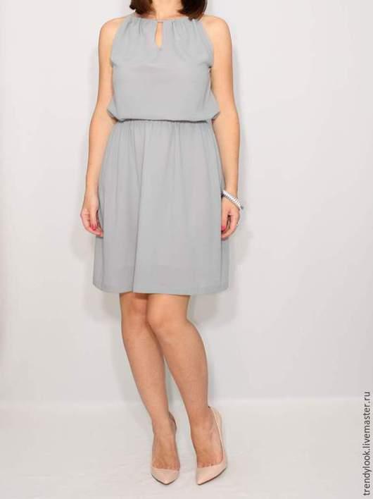 Платья ручной работы. Ярмарка Мастеров - ручная работа. Купить Светло-серое платье из шифона,короткое летнее платье. Handmade.