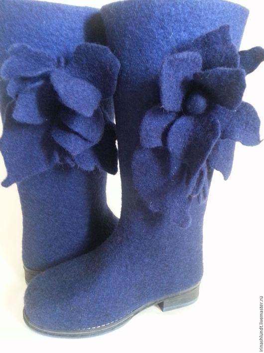 Обувь ручной работы. Ярмарка Мастеров - ручная работа. Купить Сапоги валяные женские. Handmade. Тёмно-синий, сапоги женские