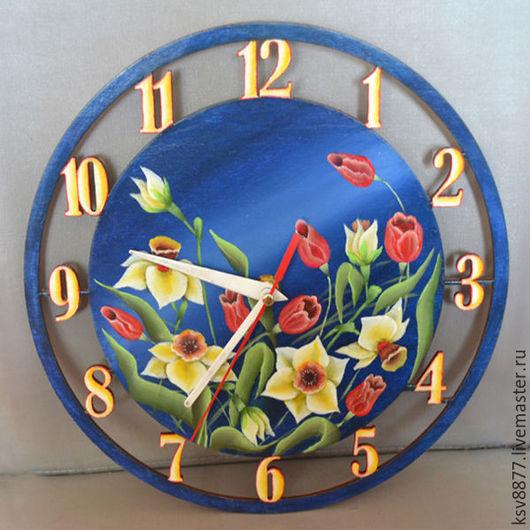 """Часы для дома ручной работы. Ярмарка Мастеров - ручная работа. Купить Часы настенные """"Нарциссы"""". Handmade. Тёмно-синий"""
