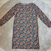 Одежда ручной работы. Ярмарка Мастеров - ручная работа Платье прямое из зеленого хлопка с цветами и листьями горчичный. Handmade.