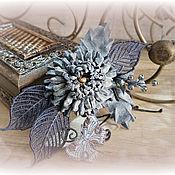 Украшения handmade. Livemaster - original item Chrysanthemum brooch from jeans 2. Handmade.