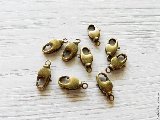 Замочки лобстеры, цвет бронза, размер 9*17*4 мм (с учетом петельки) . Материал латунь. (арт. 2072)