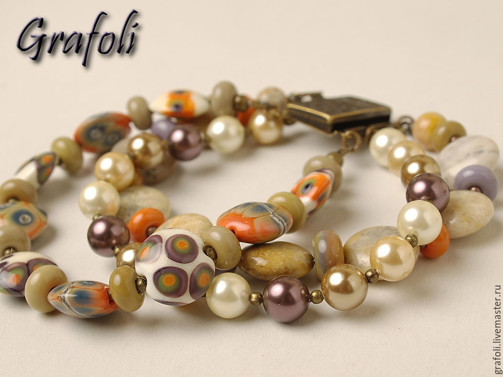 Bracelet coral with pearl, Bead bracelet, Moscow,  Фото №1