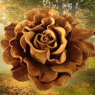 Украшения ручной работы. Ярмарка Мастеров - ручная работа Цветы из кожи. Украшение брошь заколка GOLDEN ROSE  коричневая роза. Handmade.