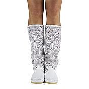 Обувь ручной работы. Ярмарка Мастеров - ручная работа Pizzo IRIS летние перфорированные сапоги (белые). Handmade.
