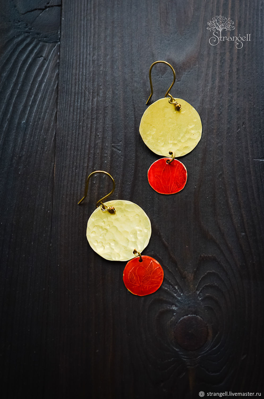 Boho brass earrings Bright red round earrings Minimalism Gold, Earrings, Ulan-Ude,  Фото №1