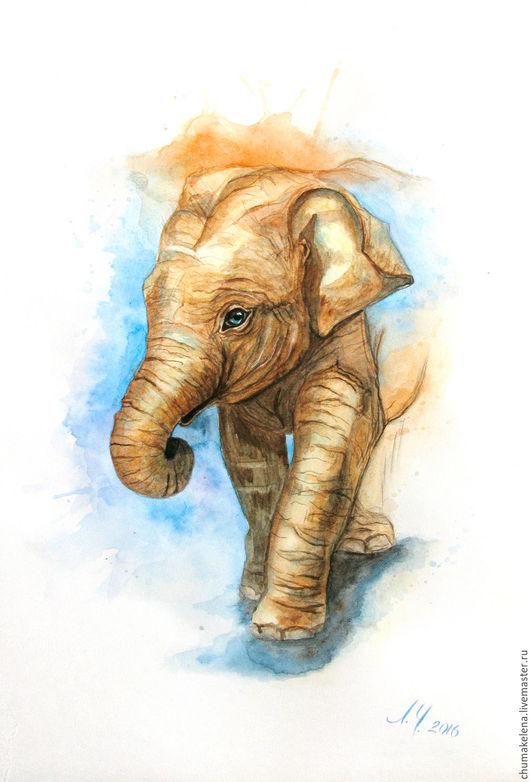Животные ручной работы. Ярмарка Мастеров - ручная работа. Купить «Слонёнок», картина, акварель. Handmade. Картина в подарок, интерьерная картина