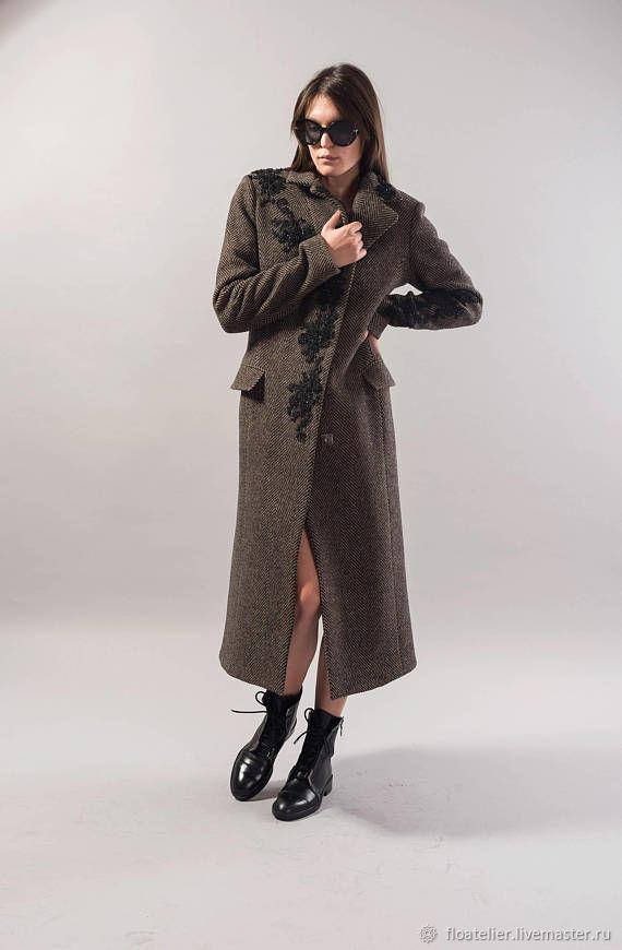Melange Lined Coat/Embroidery Wool Coat/Winter Coat/Lace detail/F1739, Coats, Sofia,  Фото №1