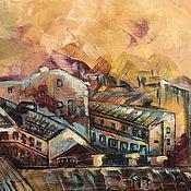 Картины и панно handmade. Livemaster - original item Oil paint `Piter (Saint Petersburg) rooftops and sunset`. Handmade.