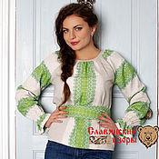 "Одежда ручной работы. Ярмарка Мастеров - ручная работа Блуза ""Ладушка"" зеленая. Handmade."