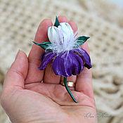 Украшения handmade. Livemaster - original item Iris Leather Brooch small flower white purple Spring Breath. Handmade.