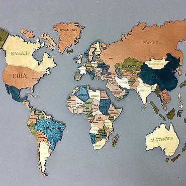Для дома и интерьера ручной работы. Ярмарка Мастеров - ручная работа Элементы интерьера: Карта мира из дерева обьемная 3D. Handmade.
