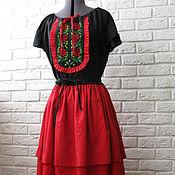 """Одежда ручной работы. Ярмарка Мастеров - ручная работа Платье с вышивкой """"розы"""". Handmade."""