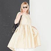 Одежда ручной работы. Ярмарка Мастеров - ручная работа Платье из шелка в золотую клеточку art.162a. Handmade.