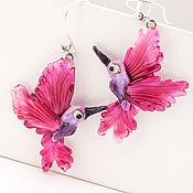 Серьги Птицы Розовые колибри, бижутерия из стекла. Лэмпворк