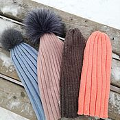 Аксессуары handmade. Livemaster - original item Hat with fur pompom. Handmade.