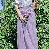 Одежда ручной работы. Ярмарка Мастеров - ручная работа Лавандовая сиреневая летняя трикотажная юбка в пол, миди, мини. Handmade.
