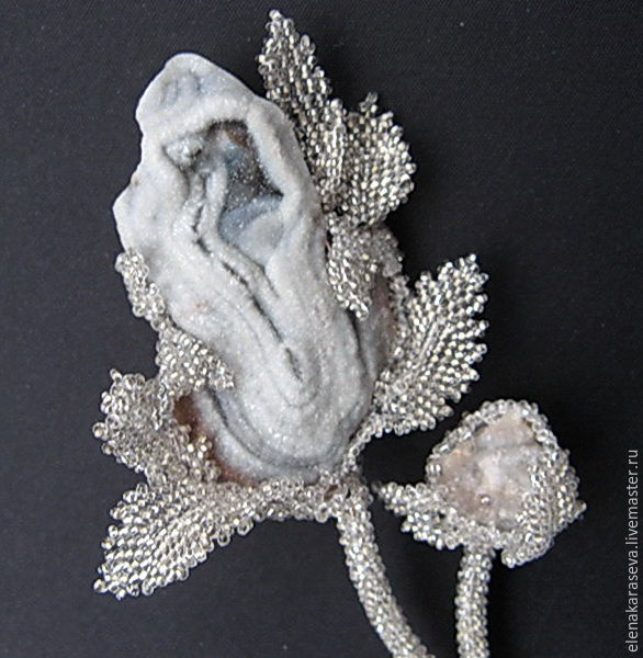 """Beaded brooch with agate """"Silver flowers"""", Brooches, Moscow,  Фото №1"""