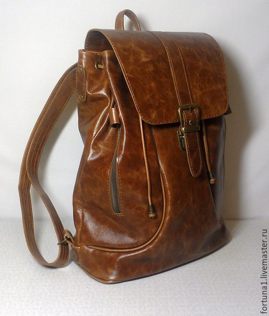 Рюкзаки ручной работы. Ярмарка Мастеров - ручная работа. Купить Рюкзак кожаный городской 14. Handmade. Рыжий, кожаный рюкзак