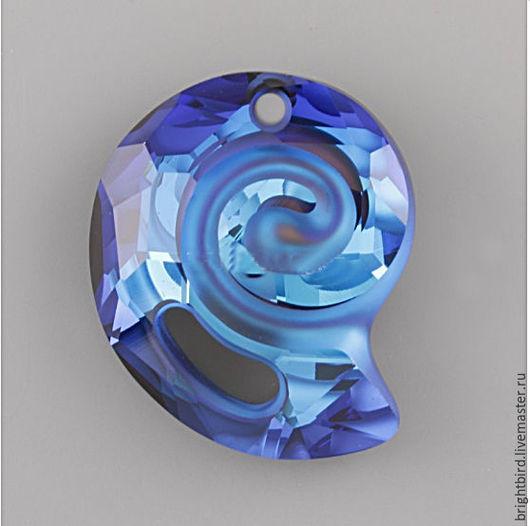 Для украшений ручной работы. Ярмарка Мастеров - ручная работа. Купить Подвеска 28mm Bemuda Blue РАКУШКА Сваровски 6731. Handmade.