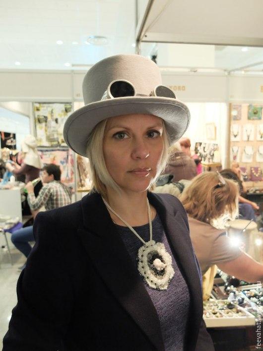 Шляпы ручной работы. Ярмарка Мастеров - ручная работа. Купить Шляпа цилиндр с гогглами, стимпанк. Handmade. Серый, шляпа, стимпанк