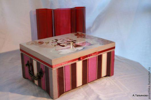 Кухня ручной работы. Ярмарка Мастеров - ручная работа. Купить Шкатулка деревянная Малиновая полосатая. Handmade. Бордовый, для кухни