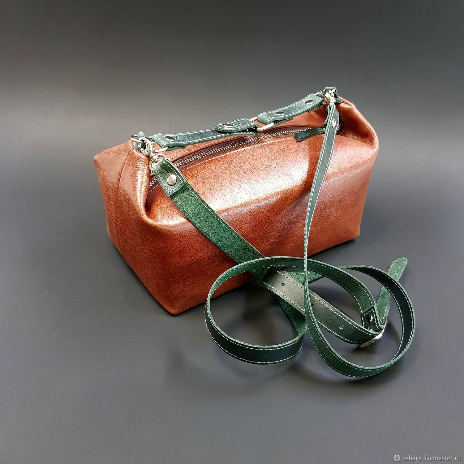 Small leather bag. Small women's handbag. Red and emerald, Valise, St. Petersburg,  Фото №1